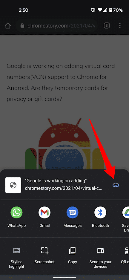 Copy Link to Text on Android
